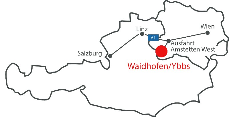Location of Waidhofen/Ybbs in Austria.